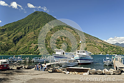 Boats in harbor at santiago atitlan Editorial Stock Photo