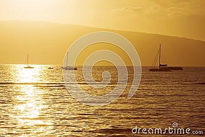 Boats At Hawaiian Sunset