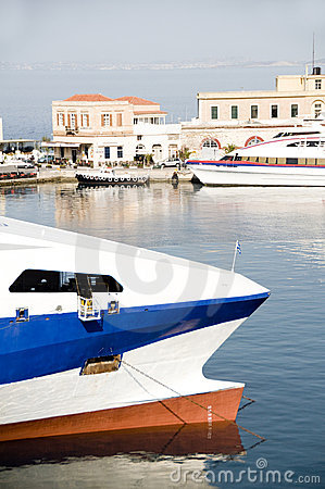 Boats in Hermoupolis Harbor Syros Greece