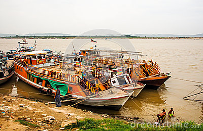 Boats at Irrawaddi river Editorial Stock Photo