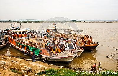 Boats at Irrawaddi river Editorial Stock Photo