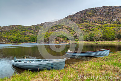 Boats at the Killarney lake in Ireland