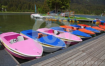 Boats on lake