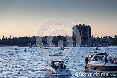 Boats on Lake CDA Editorial Photo