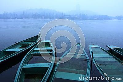 boats in the lake raining