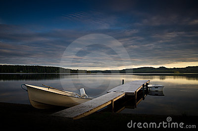 Boats on a lake in scandinavia
