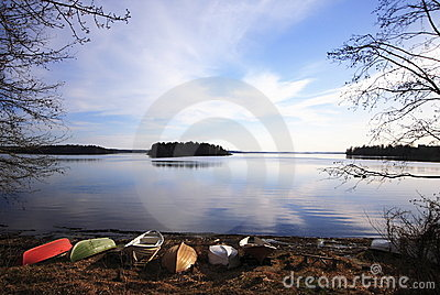 Boats in lake shore, Tampere, Finland