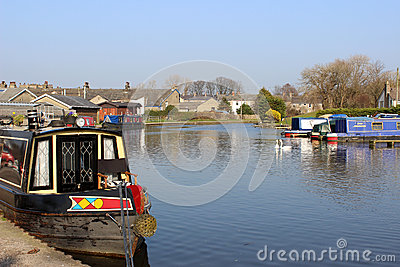 Boats on Lancaster Canal at Carnforth, Lancashire Editorial Stock Photo