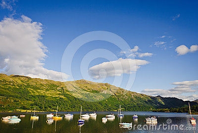 Boats on Loch Lomond, Scotland