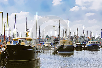 Boats at the marina Huizen.