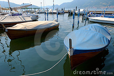 Boats in marina at Iseo, Lombardy, Italy