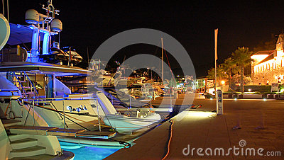 Boats in Masliniki, Croatia, at night Editorial Stock Photo