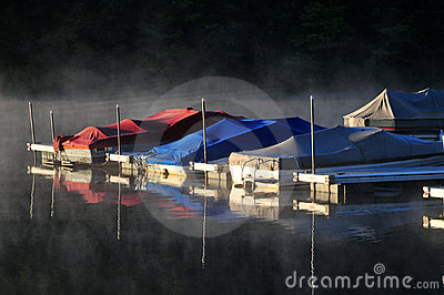 Boats in the mist of morning