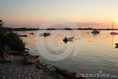 Boats Moored By Beach At Sunset Free Public Domain Cc0 Image