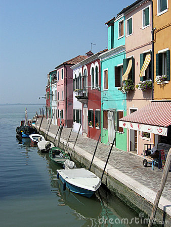 Boats moored in Burano, Venice, Italy.