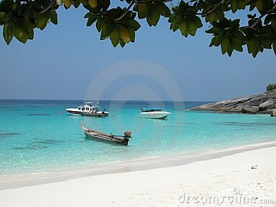 Boats moored on Similan Island beach, Thailand
