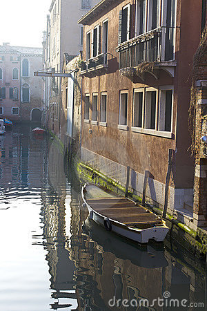 Boats moored in Venice Canal Editorial Image