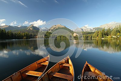 Boats on mountain lake