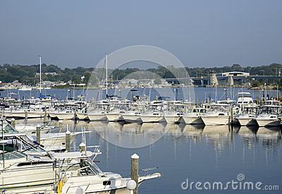 Boats in the Niantic River in Connecticut Editorial Stock Image
