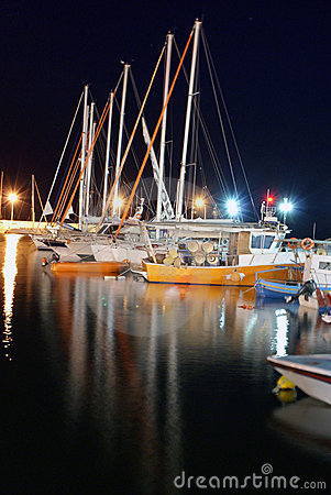 Boats in night