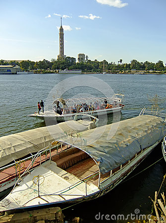 Boats on the Nile river, Cairo