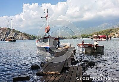 Boats in Phaselis Bay, Antalya, Turkey