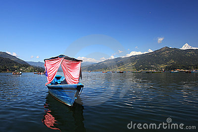 Boats in Pokhara Phewa Lake