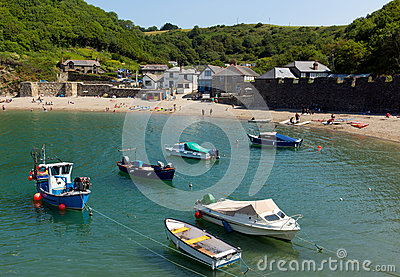 Boats Polkerris harbour Cornwall England near St Austell Editorial Stock Image