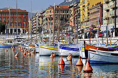 Boats in the port of Nice in France
