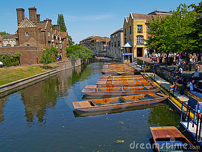 Boats, punt on river at Cambridge, UK