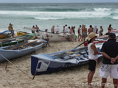 Boats in readiness for a Surf Race Editorial Photography