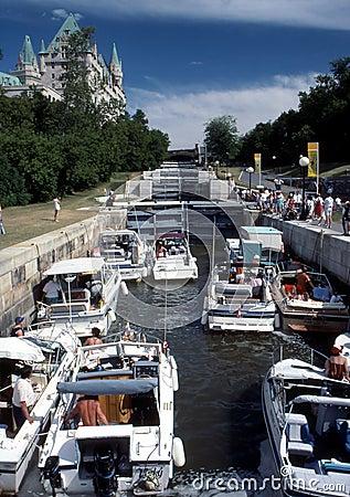 Boats in Rideau Canal Locks
