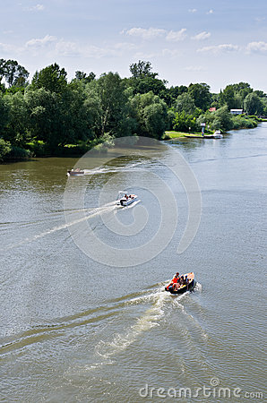 BOATS ON THE RIVER Editorial Stock Photo
