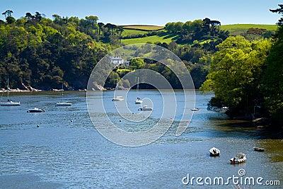 Boats on the River Dart near Dartmouth, Devon