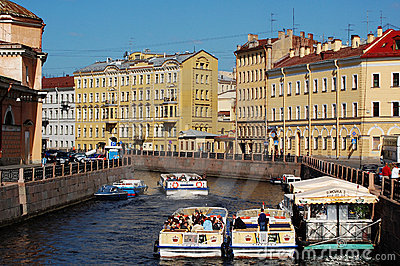 Boats in Saint-Petersburg Editorial Stock Photo
