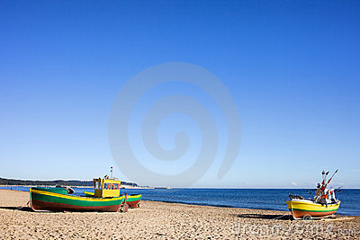 Boats on a Sandy Beach