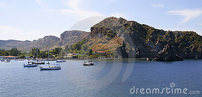 Boats on a sea, Lipari Islands