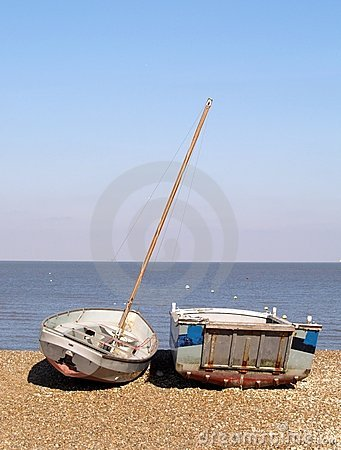 Boats on a Shingle Beach in England