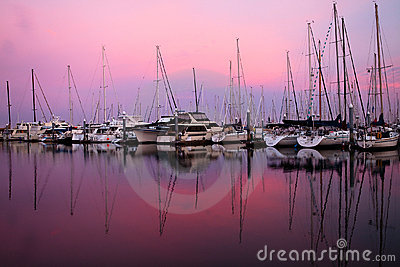 Boats in sunrise
