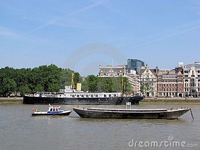 Boats on Thames, London Editorial Photography