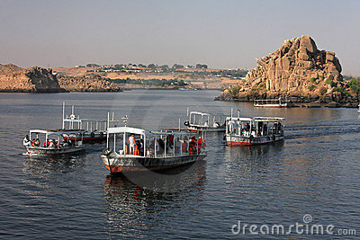Boats to Philae Temple Editorial Photography