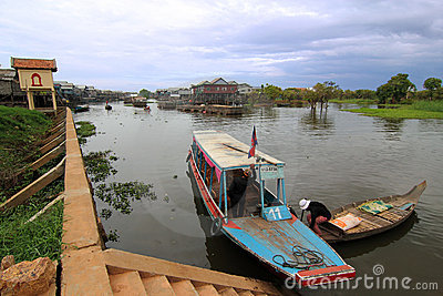 Boats at Tonle Sap Lake Editorial Stock Image