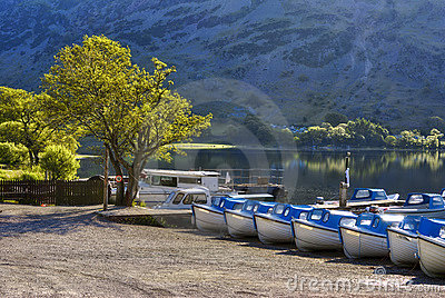 Boats on Ullswater shore