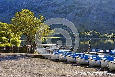Boats on Ullswater shore