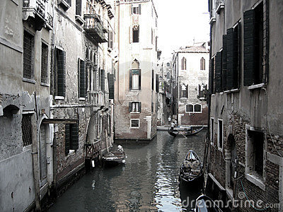 Boats on Venice canal