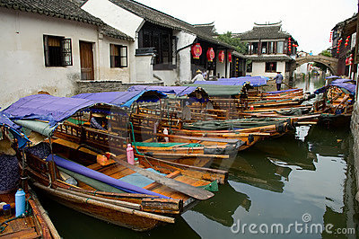 Boats in water town in China