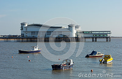 Boats and Pier in Weston-super-Mare bay Somerset