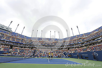 Bob and Mike Bryan at Arthur Ashe Stadium during US Open third round doubles match at Billie Jean King National Tennis Center Editorial Photo