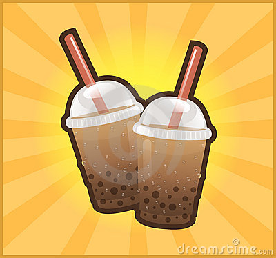 Boba bubble tea with straw background