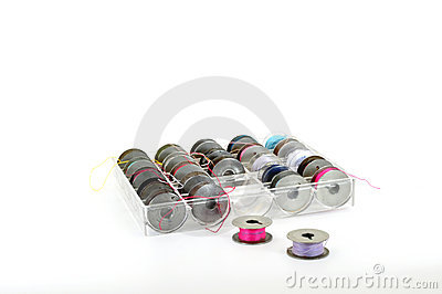 Bobbins in plastic case